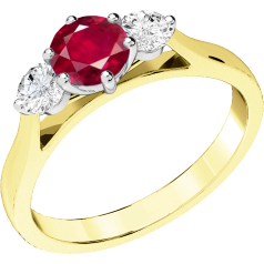 RDR202YW - 18ct yellow and white gold ring with a claw set central round ruby and a round brilliant cut  diamonds on either side.