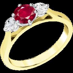 RDR202YW - 18kt Gelb- und Weissgold Ring mit einem zentralen runden Rubin in Krappenfassung und einem runden Brillanten auf jeder Seite