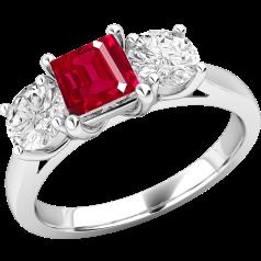 Inel cu Rubin si Diamant Dama Aur Alb 18kt cu un Rubin Forma Patrata si 2 Diamante Rotund Briliant in Setare Gheare
