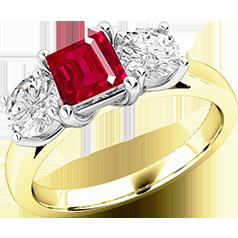 Rubin und Diamant Ring für Dame in 18kt Gelb & Weißgold mit einem quadratischen Rubin und 2 runden Brillanten in Krappenfassung