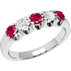 Ruby and Diamond Ring for Women in 18ct white gold with 3 round rubies and 2 round brilliant cut diamonds