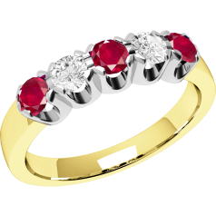 Ruby and Diamond Ring for Women in 18ct yellow and white gold with 3 round rubies and 2 round brilliant cut diamonds