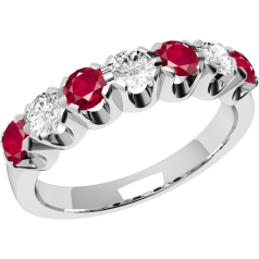 Ruby and Diamond Ring for Women in 18ct white gold with 7 stones