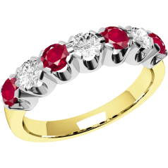 Ruby and Diamond Ring for Women in 18ct yellow and white gold with 7 stones