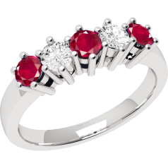 RDR248/9W-9ct white gold 5 stone ruby and diamond ring