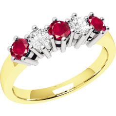 Ruby and Diamond Ring for Women in 18ct yellow and white gold with 5 stones