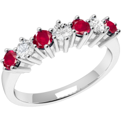 Ruby and Diamond Ring for Women in 9ct white gold with 4 round rubies and 3 round brilliant cut diamonds
