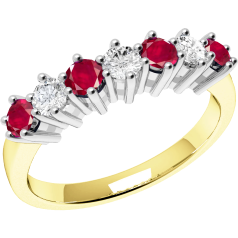 Ruby and Diamond Ring for Women in 9ct yellow and white gold with 4 round rubies and 3 round brilliant cut diamonds