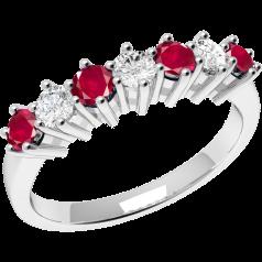 RDR253W-Inel cu Rubin si Diamant Dama Aur Alb 18kt cu 7 Pietre, Rubine si Diamante in Setare Gheare,Stil Elegant