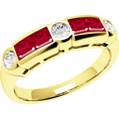Ruby and Diamond Ring for Women in 18ct yellow gold with 4 square rubies and 3 round brilliant cut diamonds in rub-over setting