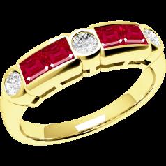 Rubin und Diamant Ring für Dame in 18kt Gelbgold mit 4 Rubinen und 3 Diamanten