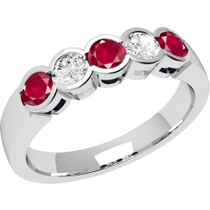 Ruby and Diamond Ring for Women in 9ct white gold with 3 round rubies and 2 diamonds