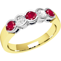Ruby and Diamond Ring for Women in 9ct yellow and white gold with 3 round rubies and 2 diamonds