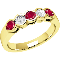 Ruby and Diamond Ring for Women in 18ct yellow gold with 3 round rubies and 2 diamonds