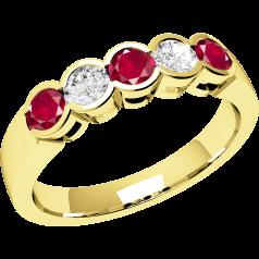 Inel cu Rubin si Diamant Dama Aur Galben 18kt cu 5 Pietre, Rubine si Diamante