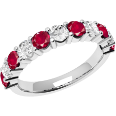 Ruby and Diamond Ring for Women in 18ct white gold with 6 round rubies and 5 round brilliant cut diamonds