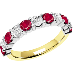 Ruby and Diamond Ring for Women in 18ct yellow and white gold with 6 round rubies and 5 round brilliant cut diamonds