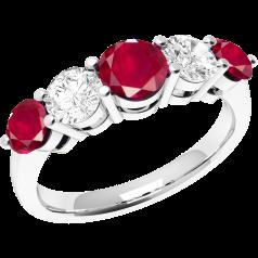 RDR303W - 18kt Weissgold 5 Steine Rubin und Diamant Ring