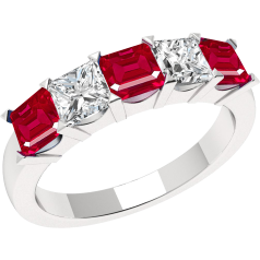 Ruby and Diamond Ring for Women in 18ct white gold with 5 square cut stones in claw setting