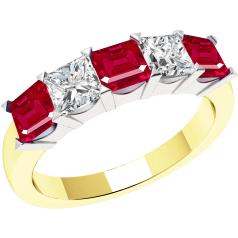 Ruby and Diamond Ring for Women in 18ct yellow and white gold with 5 square cut stones in claw setting