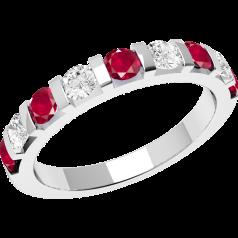 RDR327W - 18kt Weissgold 9 Steine Ring mit Rubinen und Diamanten in Balkenfassung