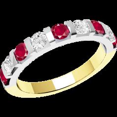 Rubin und Diamant Ring für Dame in 18kt Gelbgold und Weißgold mit 9 Steinen in Balkenfassung
