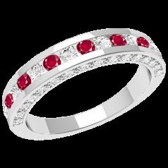 Inel cu Rubin si Diamant Dama Aur Alb 18kt cu Rubine Rotunde si Diamante Rotund Briliant