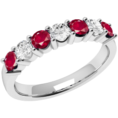 RDR336/9W - 9ct white gold 7 stone ruby and diamond ring