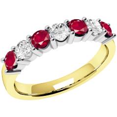 RDR336/9YW - 9ct yellow and white gold 7 stone ruby and diamond ring