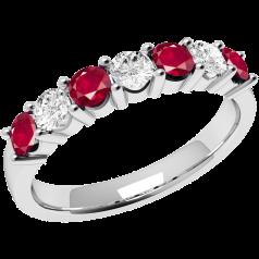 Rubin und Diamant Ring für Dame in 18kt Weißgold mit 7 Steinen in Krappenfassung