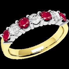 Rubin und Diamant Ring für Dame in 18kt Gelbund Weißgold mit 7 Steinen in Krappenfassung