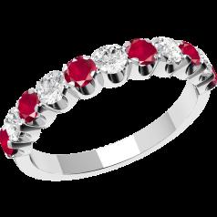 Inel cu Rubin si Diamant Dama Aur Alb 18kt cu 11 Pietre, Rubine si Diamante
