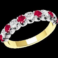 Rubin und Diamant Ring für Dame in 18kt Gelbgold und Weißgold mit 11 Steinen