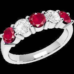 Inel cu Rubin si Diamant Dama Aur Alb 18kt cu 3 Rubine Rotunde si 2 Diamante Rotunde in Setare Gheare