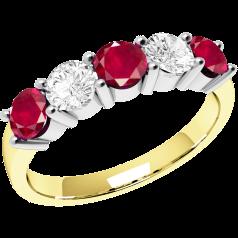 Rubin und Diamant Ring für Dame in 18kt Gelbgold und Weißgold mit 5 Steinen in Krappenfassung