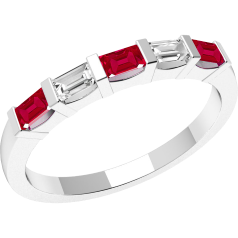Ruby and Diamond Ring for Women in 18ct white gold with 3 baguette cut rubies and 2 baguette cut diamonds, all in bar setting