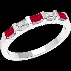 Rubin und Diamant Ring für Dame in 18kt Weißgold mit 5 Baguette Schliff Steinen in Balkenfassung