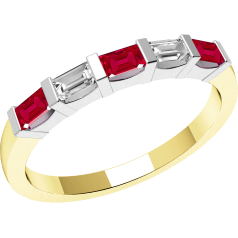 Ruby and Diamond Ring for Women in 18ct yellow and white gold with 3 baguette cut rubies and 2 baguette cut diamonds, all in bar setting