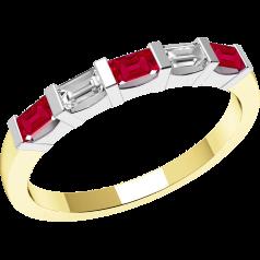 Rubin und Diamant Ring für Dame in 18kt Gelbgold und Weißgold mit 5 Baguette Schliff Steinen in Balkenfassung
