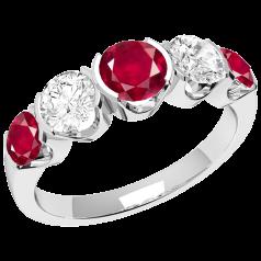 RDR364W - 18kt Weissgold Ring mit 3 runden Rubinen und 2 runden Brillanten in Semi-Zargenfassung