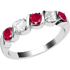 Ruby and Diamond Ring for Women in 9ct white gold with 5 stones, 3 rubies and 2 round diamonds