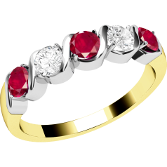Ruby and Diamond Ring for Women in 9ct yellow and white gold with 5 stones, 3 rubies and 2 round diamonds