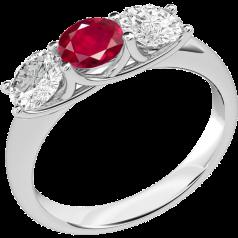 RDR382W-Inel cu Rubin si Diamante Dama Aur Alb 18kt cu un Rubin si 2 Diamante Rotund Briliant Setate cu Gheare