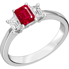 Ruby and Diamond Ring for Women in 18ct white gold with 2 emerald cut diamonds and an emerald cut ruby centre, all in a claw setting