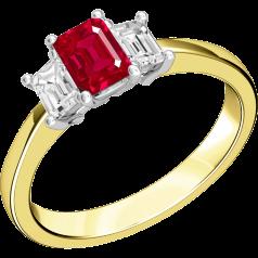 Rubin und Diamant Ring für Dame in 18kt Gelbgold und Weißgold mit 2 Smaragd Schliff Diamanten und einem Smaragd Schliff Rubin in Krappenfassung