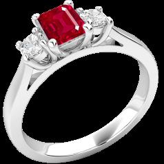 Inel cu Rubin si Diamant Dama Aur Alb 18kt cu un Rubin Forma Smarald si 2 Diamante Rotund Briliant