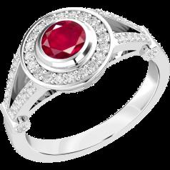 Inel cu Rubin si Diamant Dama Aur Alb 18kt cu un Rubin Rotund si Diamante Rotund Briliant Mici