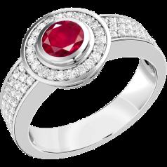 Inel cu Rubin si Diamant Dama Aur Alb 18kt cu un Rubin Rotund in Setare Rub Over si Diamante Rotund Briliant Mici