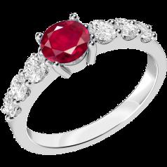 Inel cu Rubin si Diamant Dama Aur Alb 18kt cu un Rubin Rotund si Diamante Rotund Briliant pe Margini