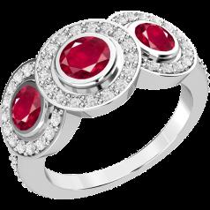 Inel cu Rubin si Diamant Dama Aur Alb 18kt cu 3 Rubine Rotunde in Setare Rub-Over inconjurate de Diamante Rotund Briliant Mici